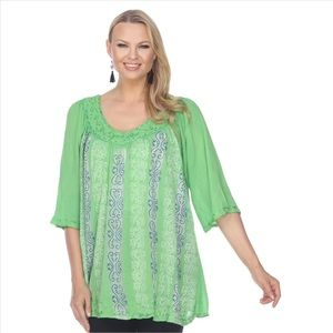 V-Neck Boho Half Sleeve Tunic - Green